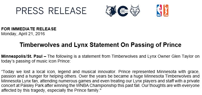 Statement from Timberwolves and Lynx owner Glen Taylor on the passing of Prince https://t.co/7KhTDOBK0m