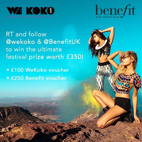 RT @wekoko_online: Win Ultimate Festival prize worth £350.  Simply RT and follow @wekoko_online & @BenefitUK to enter https://t.co/kRuzAA4O…