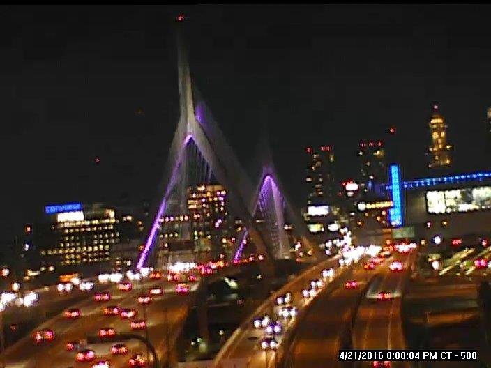 #ZakimBridge now. #Boston remembers #Prince. #PurpleRain #RIP https://t.co/zgAPPOUe7k