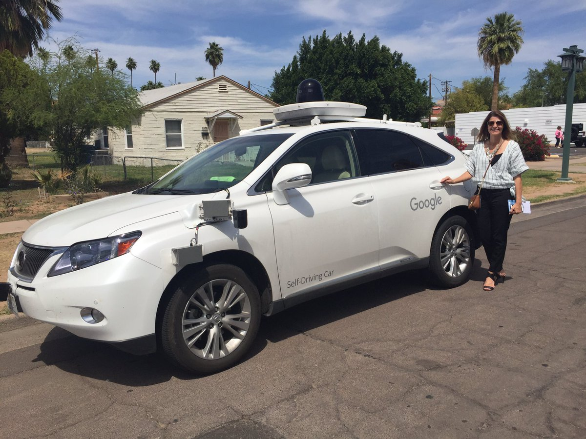 Spotted in downtown Chandler! Google's self-driving car with Downtown Redevelopment Manager Kim Moyers. https://t.co/VECmH4hwXs