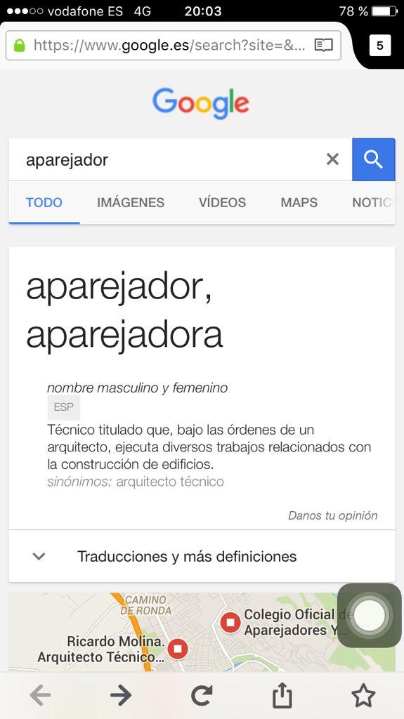 Tenemos que conseguir que @googleES cambie esta definición, haz fuerza, RT #at20 #contart2016 #aparejador https://t.co/WHuPKomWeX