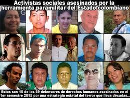 Resultado de imagen de En Colombia están asesinando a 10 activistas al mes