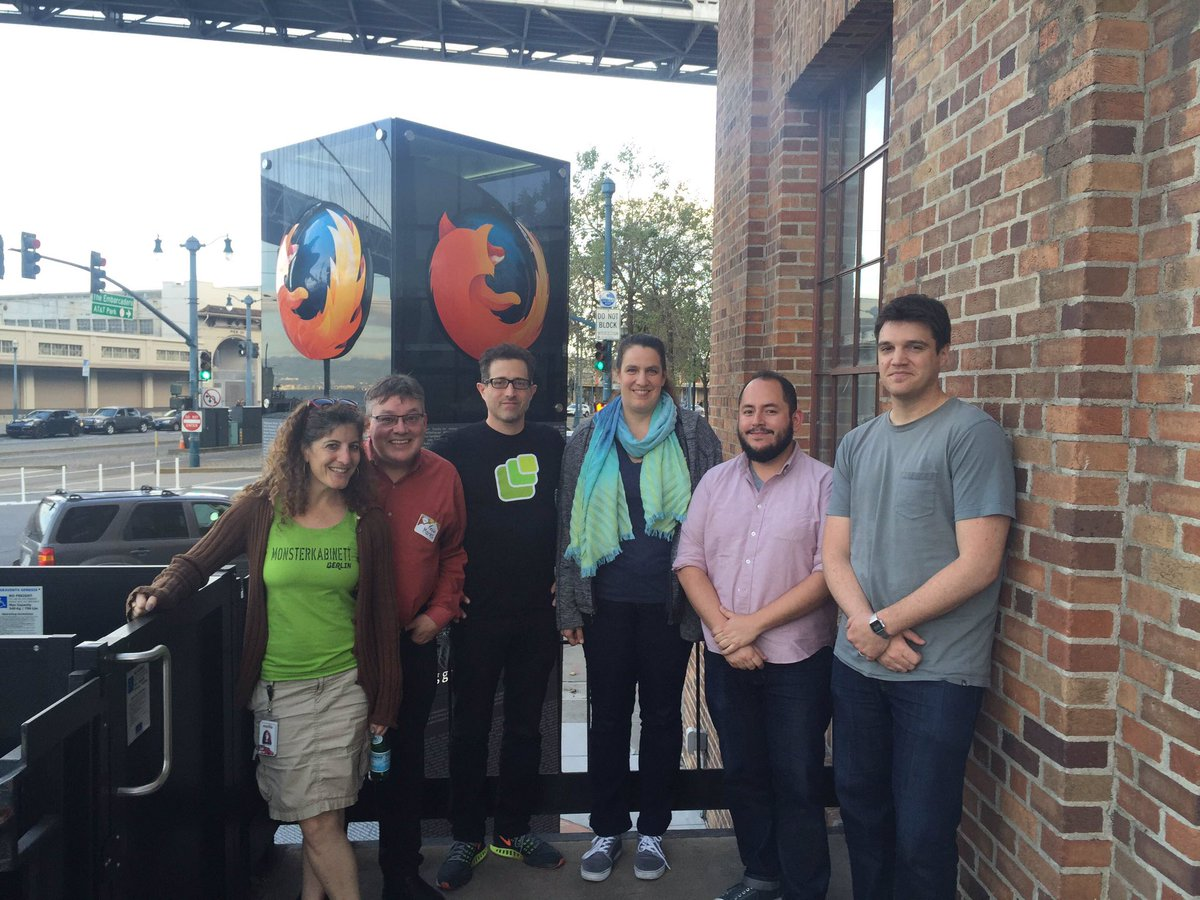 Diane, Kevin, Tantek, Kaliya, Jesus, and Kyle in front of Mozilla San Francisco at a recent Homebrew Website Club San Francisco