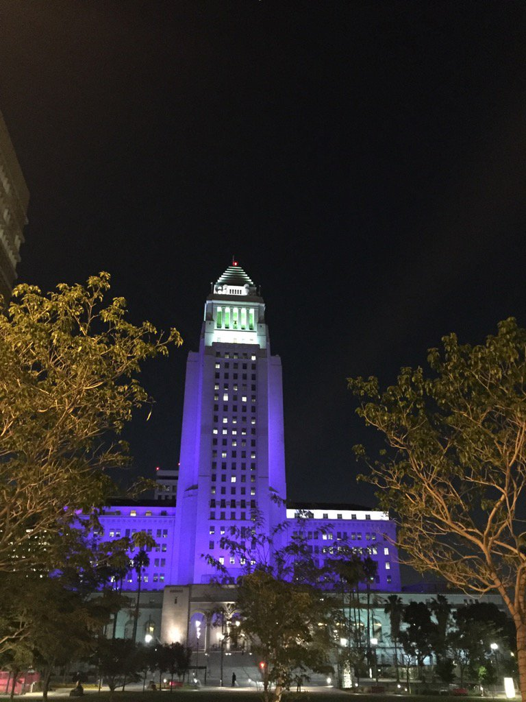City Hall, purple for #Prince. #mydayinla https://t.co/kMKVy9bc6T