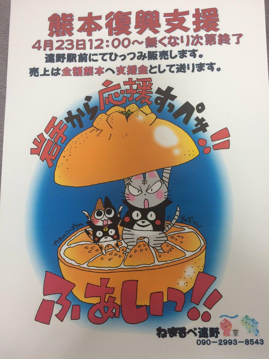 平成28年4月23日12時〜14時まで遠野駅前1日限り熊本への支援物資集めます。 缶詰(缶切り不要の物)、レトルト食品、等のお湯で温めて食べられる物、開けただけで食べられる物です。 https://t.co/4mBgv9QflS