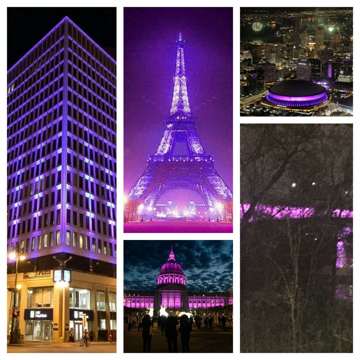 Beautiful.  Buildings around the world light up in PURPLE honor of #PrinceRIP https://t.co/MIZNDDTgQf