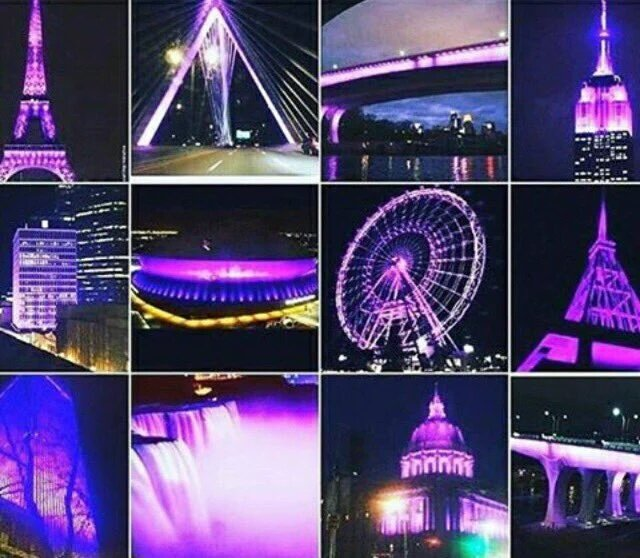 All international monuments lit up purple as a tribute to @prince #RIP...