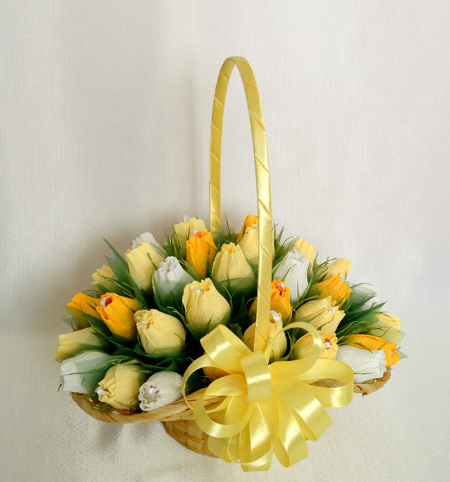 Спины цветами, корзины для букетов из конфет своими руками
