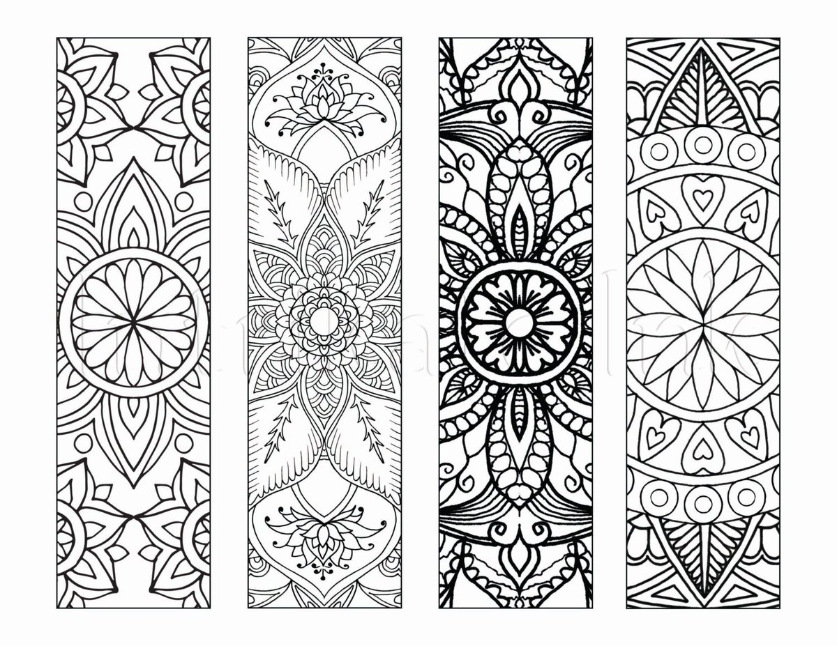"IntrikateInk on Twitter: ""4 Mandala Colouring Bookmarks ..."