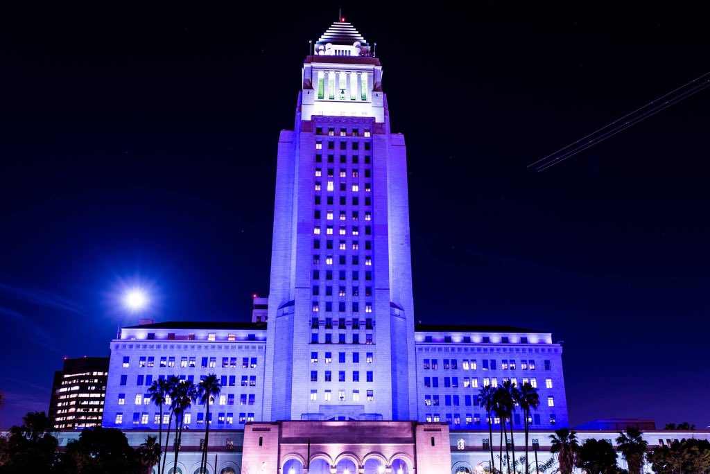 LA City Hall lit purple tonight to pay respect to a legend