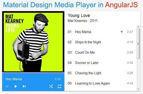 Material Design Media Player in AngularJSAngularJS
