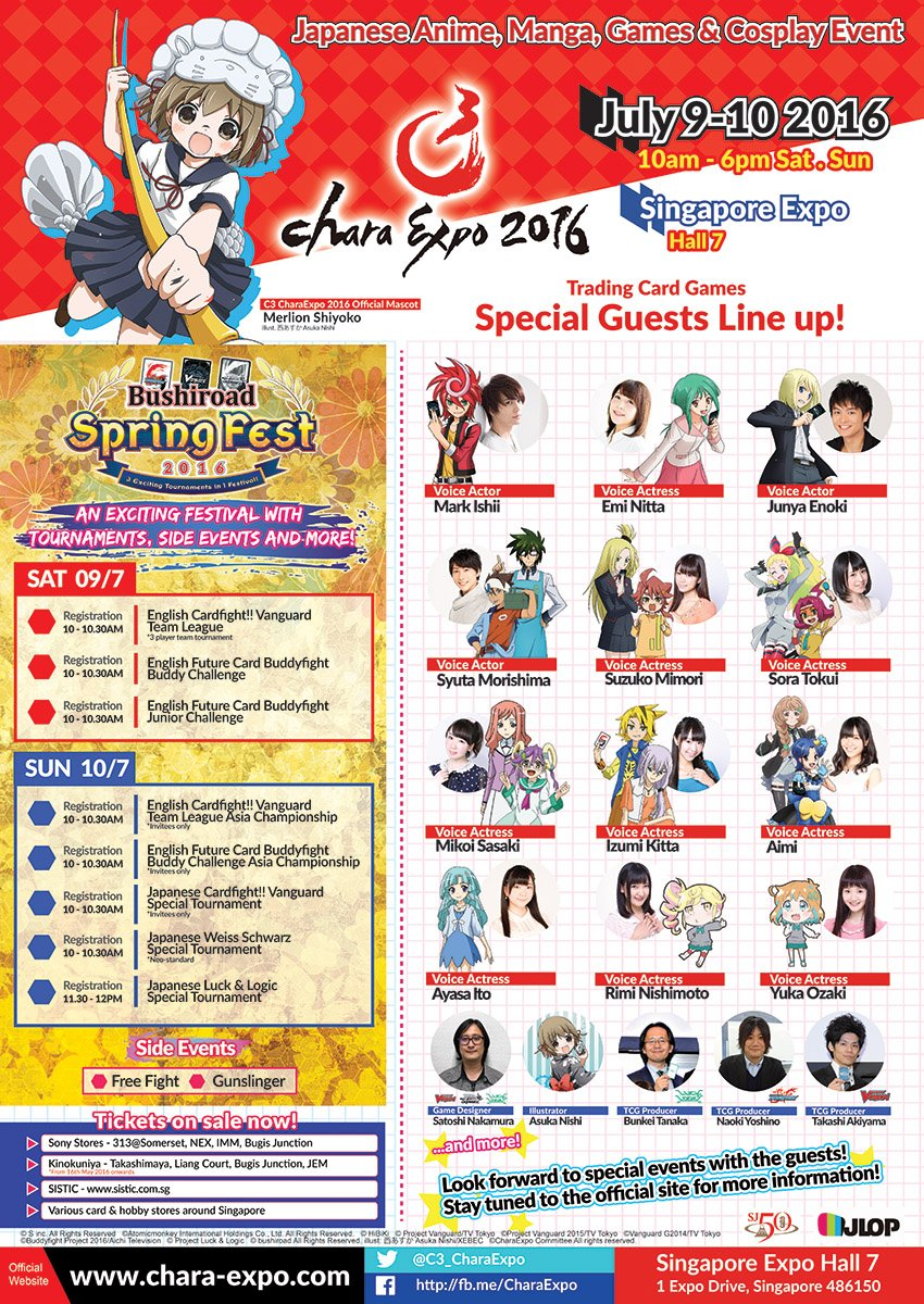 Join the cast and producers of your favorite Bushiroad Trading Card Games at our event! #c3charaexpo #charaexpo