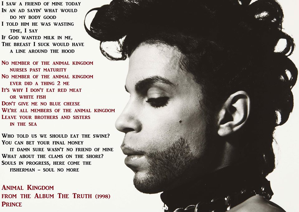 Did you know #Prince was #vegan? See lyrics from his pro-vegan song 'Animal Kingdom'  #RIPPrince #EarthDay https://t.co/p2C0piSCWT