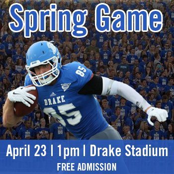 .@DrakeBulldogsFB  hosts their annual Spring Game tomorrow at 1pm. Admission is FREE. #GoBulldogs https://t.co/C7DtIzUS5P