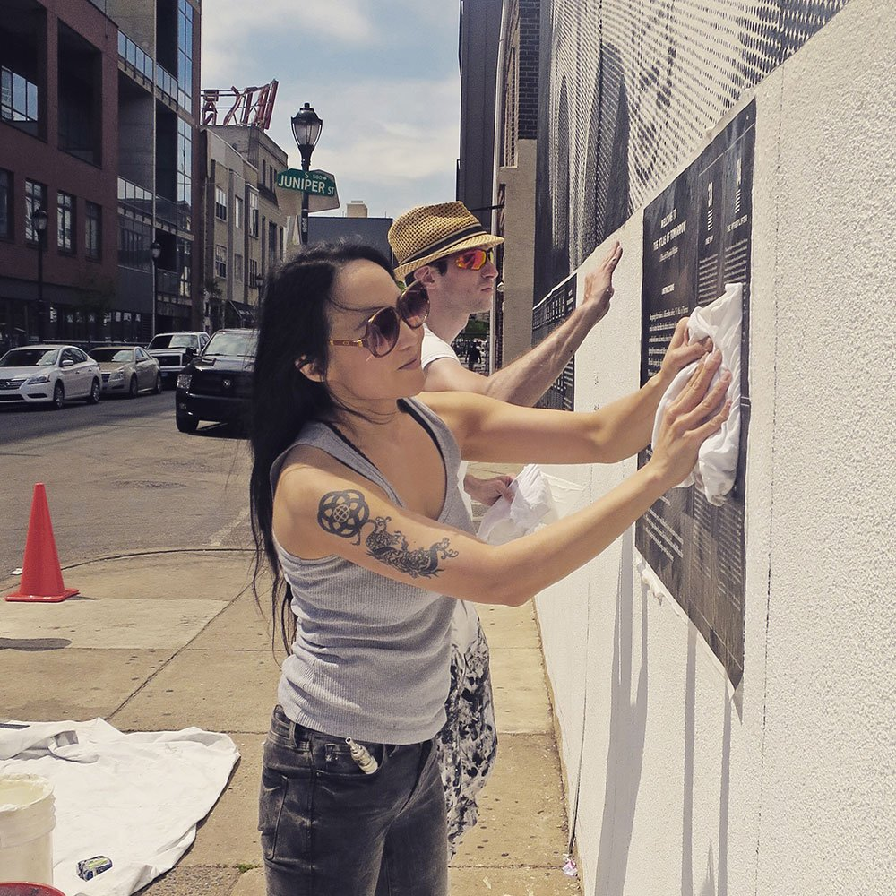 Installing the interactive mural in Philly with @muralarts, including 64 surreal fables inspired by the I Ching. https://t.co/RzRZXZLvyg