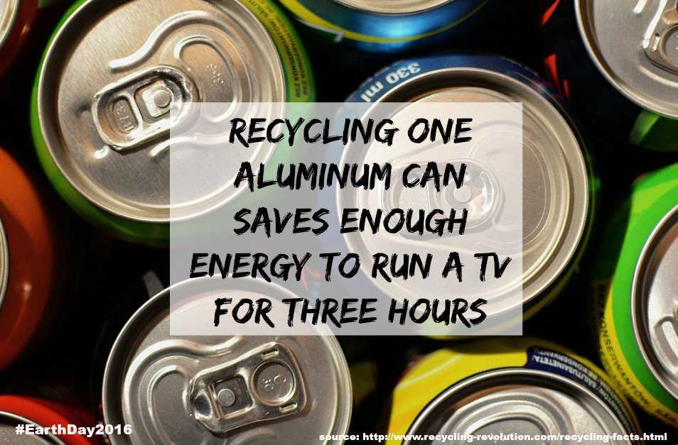 Conserve Energy #EarthDay: Recycling one aluminum can saves enough energy to run a TV for three hours  #VZWBuzz https://t.co/41X7ONwNke