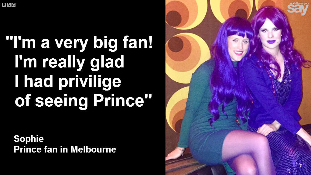 I wore this purple dress at his concert, Sophie told @ChloeTilley from OZ #RIPPrince party📻https://t.co/zwovjefJhB https://t.co/fxP4Uehvnz