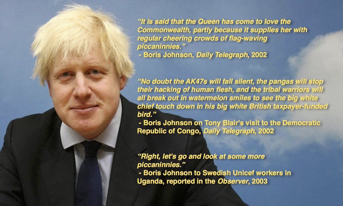 """Nicholas Pegg on Twitter: """"Boris Johnson's remark about 'the part-Kenyan  president' is nothing new. Here's some racism he did earlier.… """""""
