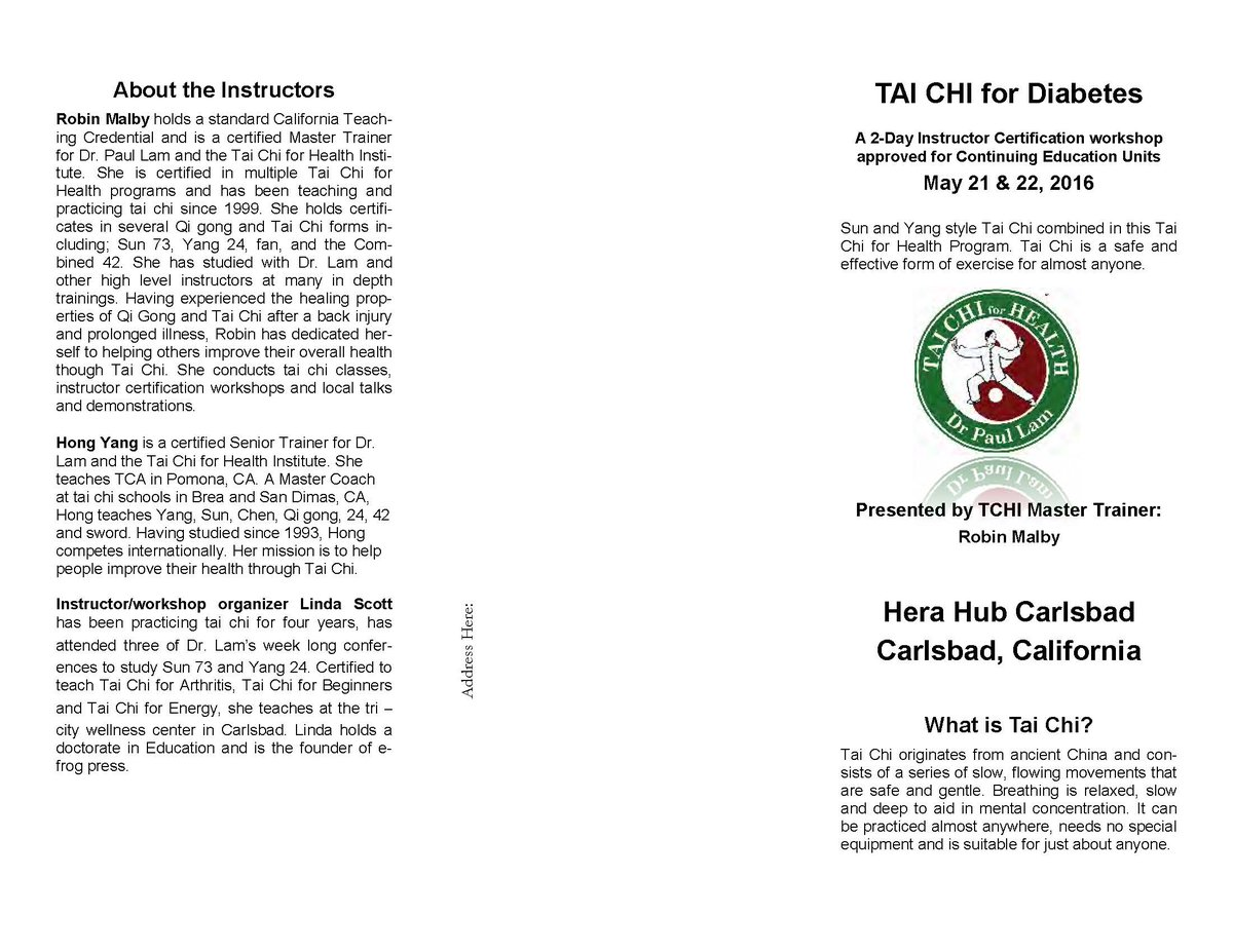 Efrog Press On Twitter Teacher Cert Tai Chi Diabetes Workshop May