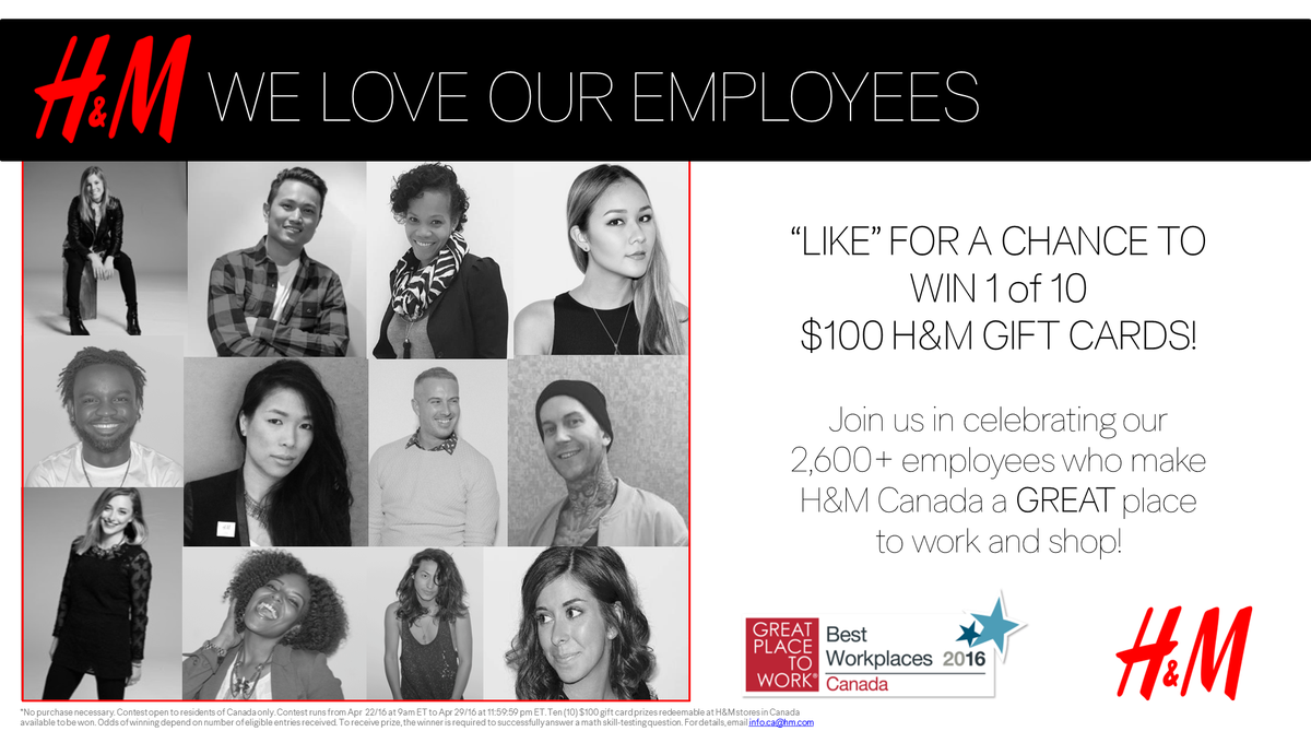 Our employees made H&M a @GPTW_Canada! Like this to share the LOVE & be entered to win 1 of 10 $100 H&M Gift Cards! https://t.co/4zVxDQbymW