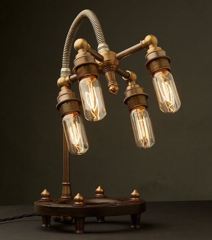#Design Awesome of the Day: Antique brass #Steampunk Multi Bulb Table Lamp by @EdisonGlobes  v/ @dezajno_ #SamaDesign