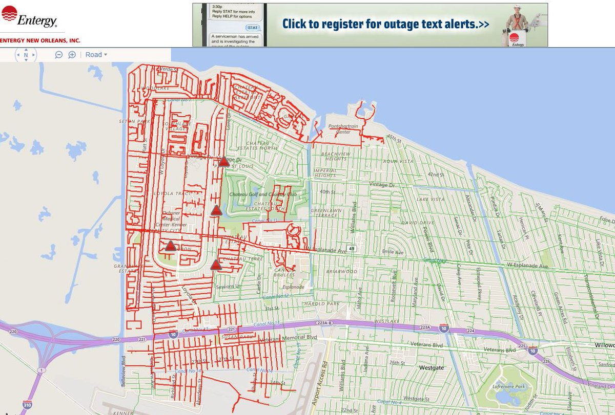 Entergy map showing power outage affecting about 12000 in kenner