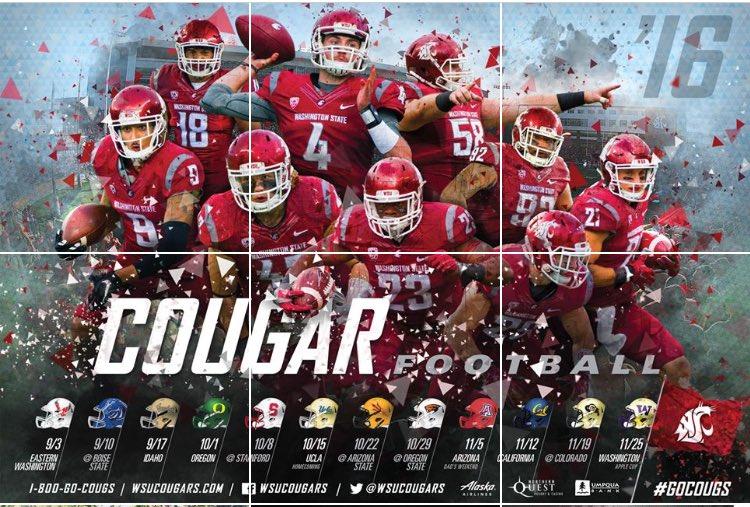 2016 washington state university football poster go cougs