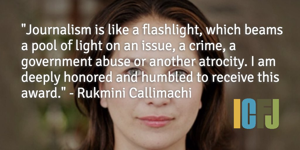 We are proud to honor @nytimes' @rcallimachi with the ICFJ Integrity in Journalism Award https://t.co/q1rtzMqQwM https://t.co/9qglxiZLYK