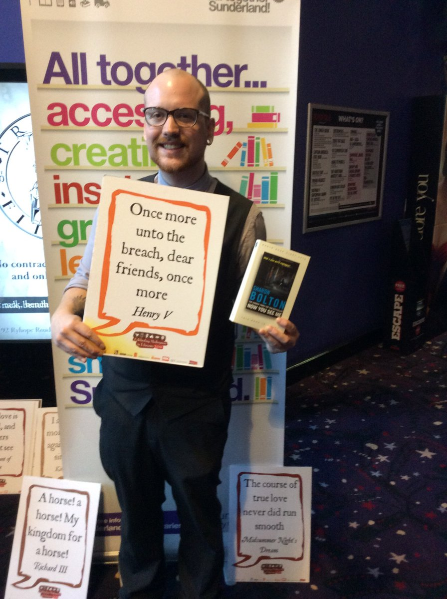 #shakespeare16 Libraries outreach team book giving at the cinema https://t.co/J2vFvaMxp9