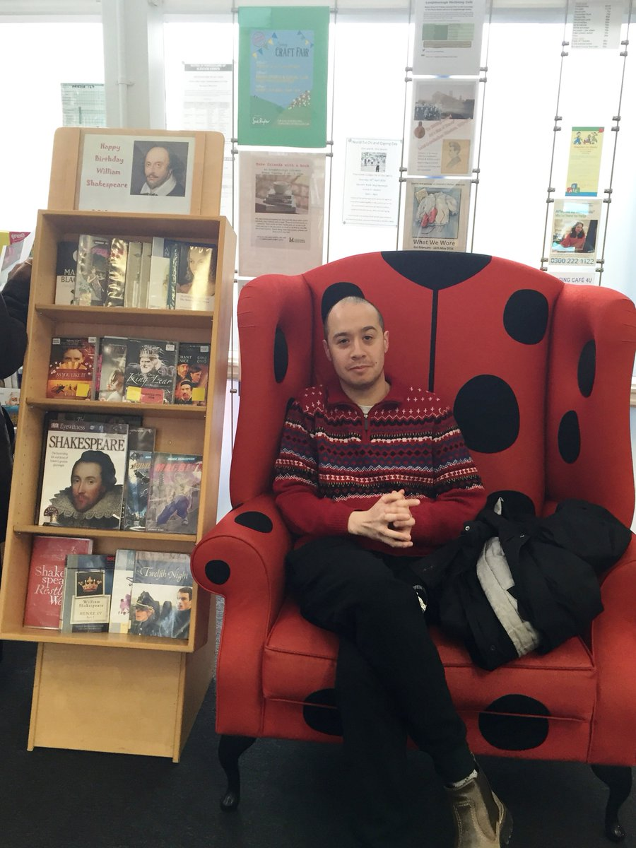 One of our customers listening to the sonnets recorded by our Shared Reading Group #shakespeare16 https://t.co/xU9aZ71NMq