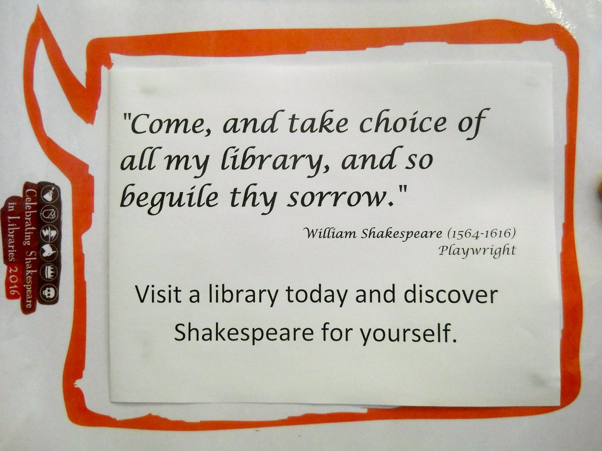 #shakespeare16 #shakespeare400 #henleaze @BristolLibrary A nice library-related Shakespeare quote... https://t.co/6lxKQykV8x