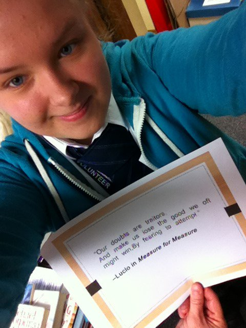 Beautiful quote chosen by Noemi, not such a famous one. #Shakespeare16 #Shakespeare400 https://t.co/mdkWhvs63k