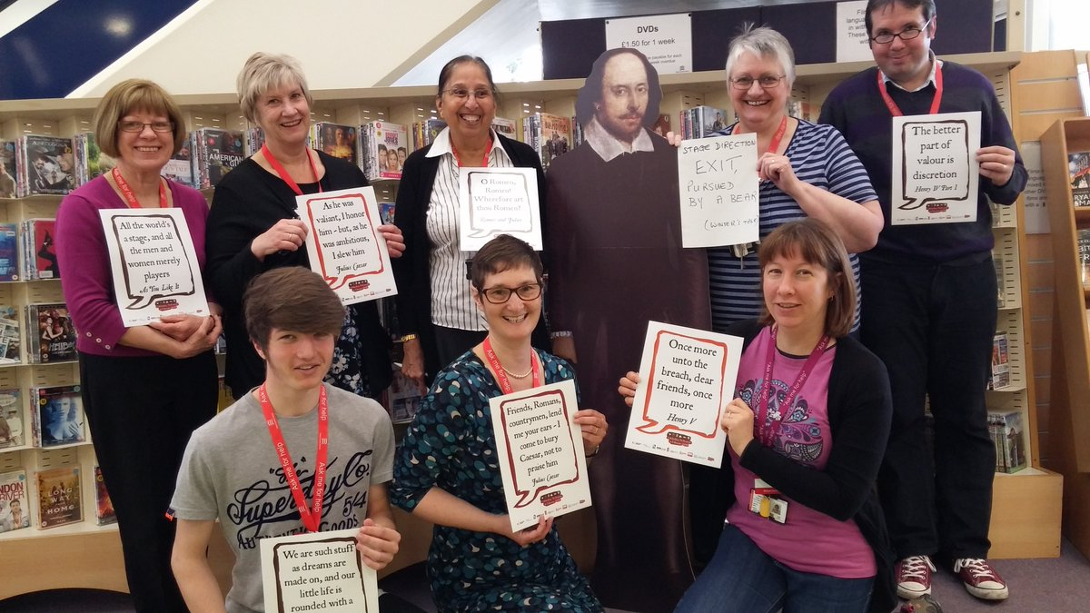 #Shakespeare16 @EssexLibraries Braintree staff making the Bard feel part of the team. https://t.co/TXuxDD3ACr