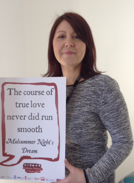 Lisa Bridger, HR Partner @StaffordshireCC celebrates #Shakespeare16 @StaffsLibraries https://t.co/wk7uxgdJex
