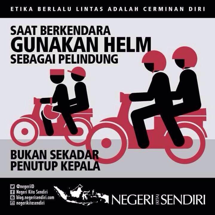 Pakai helm untuk keselamatanmu! #iklanmoraluntukbangsa dari @NegeriID #TertibYuk https://t.co/sEbyiWHvXb