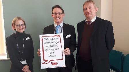 Three of our Inspire Leadership team members pose for #shakespeare16 selfies. https://t.co/2oYgft15HG