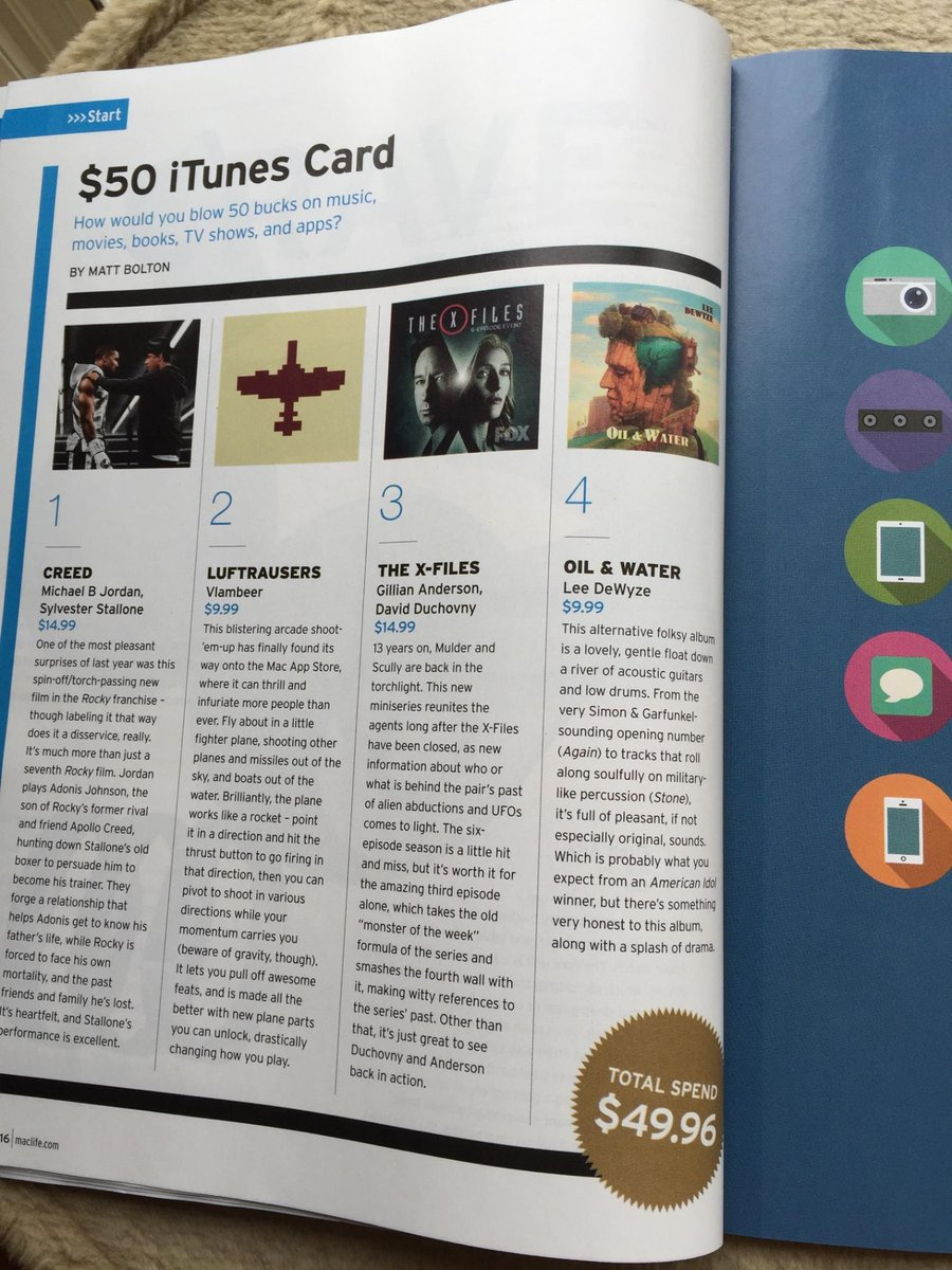 @LeeDeWyze Guess what @MacLife magazine thinks we should buy with a $50 iTunes Card - #OilAndWater!!! https://t.co/kYpe49WEYw