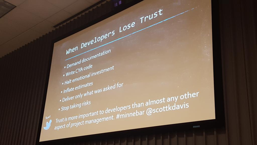 Trust is more important to developers than almost any other aspect of project management #minnebar @scottkdavis https://t.co/m2u5JG7dve