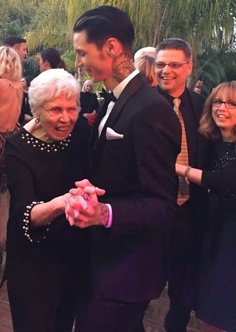 "Andy dances with his ""Gran"" (Amy's Mom) while Amy and I look on. Huge smiles on both of our faces. ;) https://t.co/eTxhaUPfil"