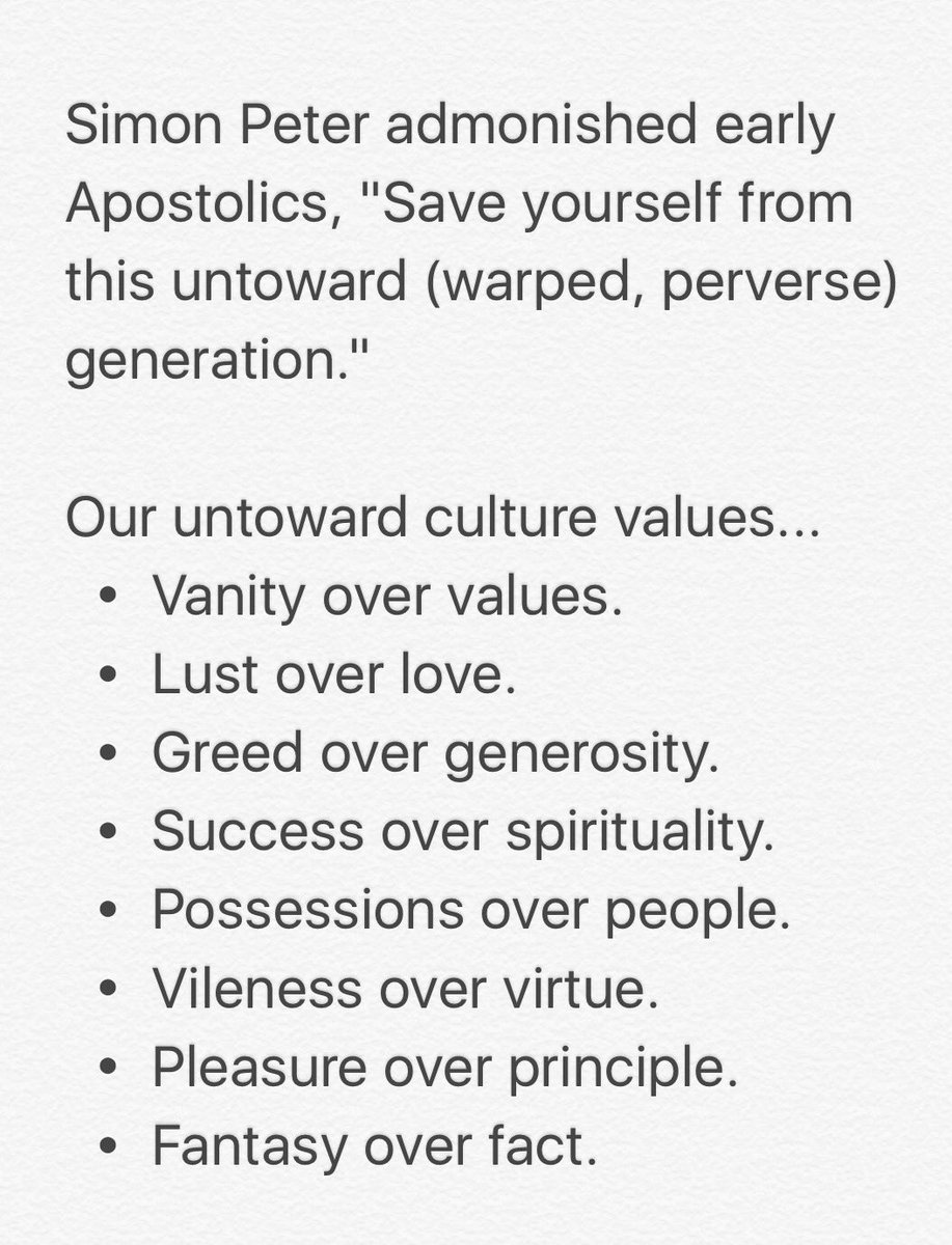 "Simon Peter admonished early Apostolics, ""Save yourself from this untoward (warped, perverse) generation."" https://t.co/0EeSuOCwV8"