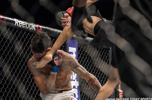 Your @UFC 197 shot of the night from @RealJoshDahl of @usatsimg: The Yair Rodriguez kick heard 'round Las Vegas. https://t.co/GZINx2HgEI