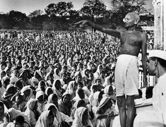 Mahatma Gandhi addresses Indians; image from Bins Corner, probably public domain