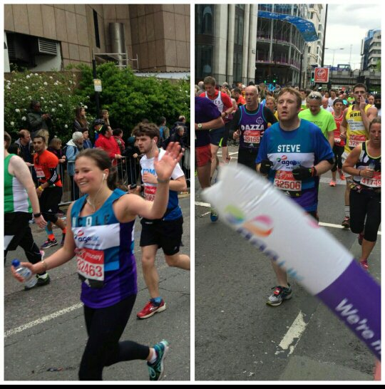 Nicole and Steve out on the #LondonMarathon course! Well done #teamageuk 🏃🏃🏅 https://t.co/Pad3VBh3dQ