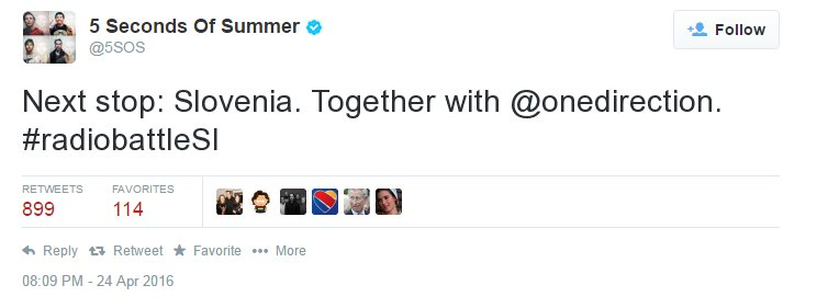 Oh my god, @5sos tweeted for #radiobattleSI and they're coming to Slovenia! https://t.co/bgxtIIVCEf
