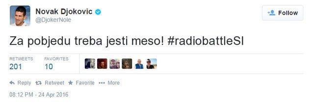 Zmagujemo!!! Novak Djoković za #radiobattleSI! https://t.co/hvbknNW35a