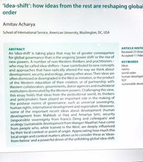 Amitav Acharya On Twitter From Powershift To Ideashift My Essay  Amitav Acharya On Twitter From Powershift To Ideashift My Essay On  Ideashifters In Development Security Ecology Httpstcovboakva
