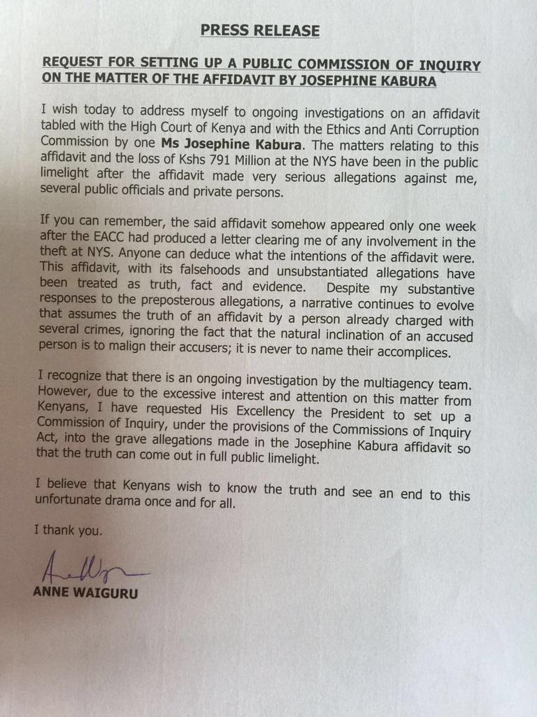 Anne Waiguru seeks Uhuru's help in NYS scandal