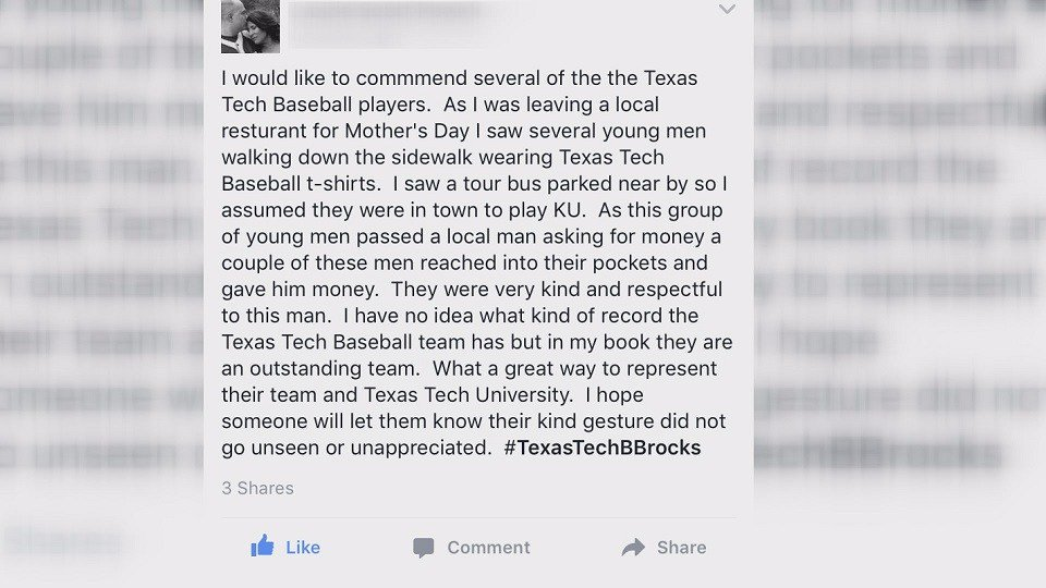 Woman commends Texas Tech baseball players for act of kindness in Kansas https://t.co/HTdELkzkik https://t.co/1YsUWVzDrR