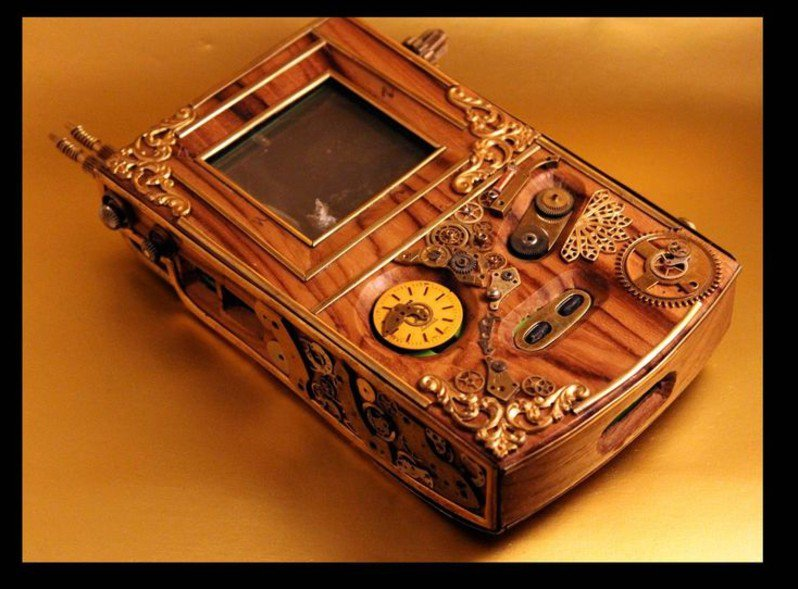 #Geek Awesome of the Day: Wood Casing #Steampunk #Nintendo #Gameboy, Cogs Metal Buttons  v @steampunkjnkies #SamaGeek