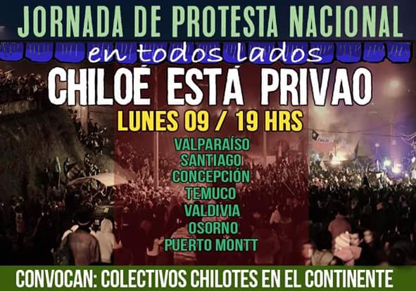 Jornada d protesta nacional x Chiloe,vamos todos a marchar el lunes a las 19 hrs! #ChiloeResiste #chiloeestaprivao https://t.co/HolbaHHS04